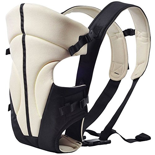 GBlife Marsupio Portabile Neonato a Fascia Frontale Ergonomico Ventrale o dorsale Marsupi bambino Zaino multifunzionale Regolabile Comodo e Traspirante Carrier Baby (Cachi)