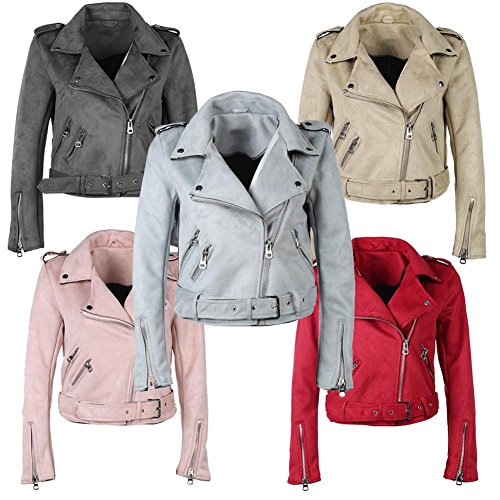 Everpert Solid Color Winter Women Turn Down Collar Zipper Suede Short Jacket Coat