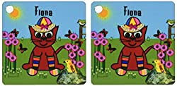 3dRose Fiona - Decorative SmudgeArt Art Design - Cat In Rainbow Socks - Key Chains, 2.25 x 4.5 inches, set of 2 (kc_49949_1)