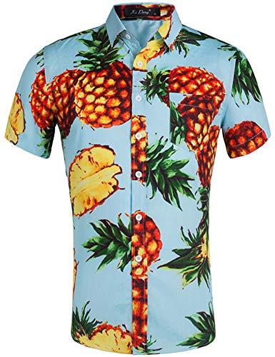 Loveternal Hawaii Hemd Pineapple Kurzarm Shirt Funky Shirt 3D Gedruckt Hawaiian Themed Party Sommer Baumwolle Kleidung Blau XXL - Hawaiian Gedruckt