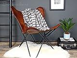 Bauhauschairs Butterfly Chair Flair cognac Schmetterlingsstuhl Echt-Leder Stahlgestell