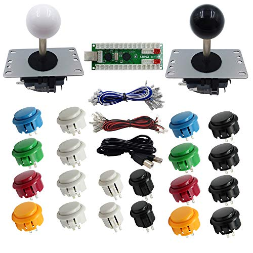 SJ@JX Arcade DIY Kit 2 Player Arcade Controller USB Encoder Zero Delay  Arcade Joystick Button Retropie Raspberry Pi MAME Jamma
