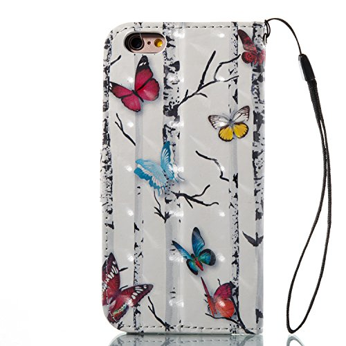 KANTAS Coque PU Cuir pour iPhone 6S Plus iPhone 6 Plus Housse 3D Bling Briller Etui à rabat tour Eiffel Rose Rouge Motif pour iPhone 6S Plus/6 Plus avec Pochette Fonction Stand Fente pour Carte Boucle Papillon Coloré