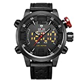 Uhr,Herrenuhren,Luxus echtes Leder Band LED Analog Digital Japanisch Quarz-Armbanduhr,Zwei Zeitzonen zeigen Multifunktions-Sport-Mode-Uhren für Männer an