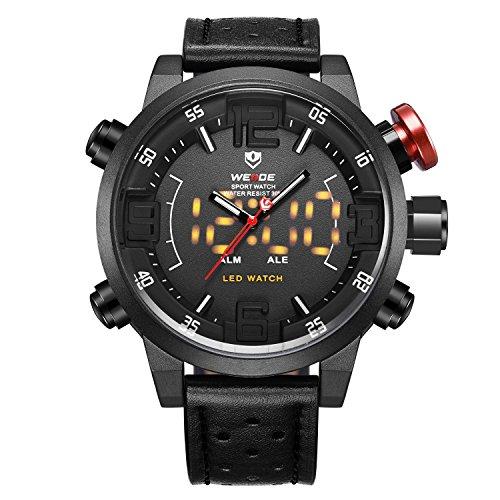 Montre,Montres Hommes, Montre-bracelet de quartz japonais analogique numérique de bande en cuir véritable de luxe LED, Deux fuseaux horaires affichent Multifunction Sport Fashion Watches pour les homm