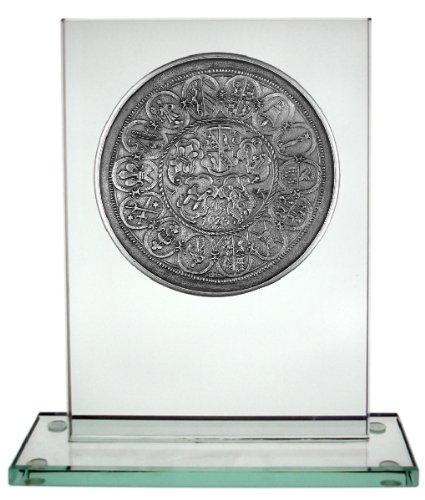 Städtemedaille Memmingen (Münzplakette) auf Glasobjekt
