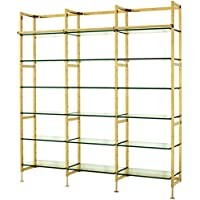 Comparador de precios Casa-Padrino Luxury Shelving Cabinet Stainless Steel Gold with Glass Shelves B 223 x H 245 cm Bookcase Shelving Cabinet - Art Deco Furniture - precios baratos