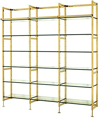 Casa Padrino luxury Shelving cabinet stainless steel gold with glass shelves B 223 x H 245 cm bookcase shelving cabinet - Art Deco