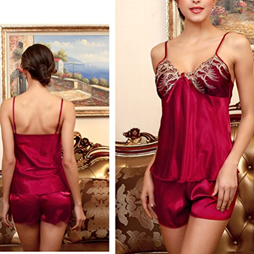 Zhhlaixing 2 PCS Women's Sexy Lace Silk Lingerie Strap Sleeveless Night Dress Sleepwear Wine Red