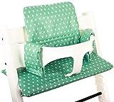 Cuscino per seggiolone Stokke Tripp Trapp - Verde mentha con stelle - Plastificato ♥ immagine