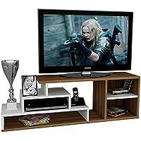 LUCA Set Soggiorno - Mobile TV Porta - Parete attrezzata in design moderno (Bianco / Noce)