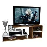 Homidea LUCA Wohnwand - TV Lowboard - TV Board - Fernsehtisch in modernem Design (Weiß/Nussbaum)