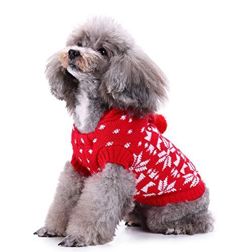 Kostüm Machen Krippe - OUYAWEI Casual Weihnachten Schneeflocke Gedruckt Pullover Hoodies Stehkragen Kostüm Tuch für Winter Herbst Kleinen Hund M