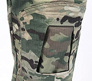 MAGCOMSEN Hommes Chasse Pantalon Airsoft Militaire Multicam Tactique Combat Pantalons avec genouillères