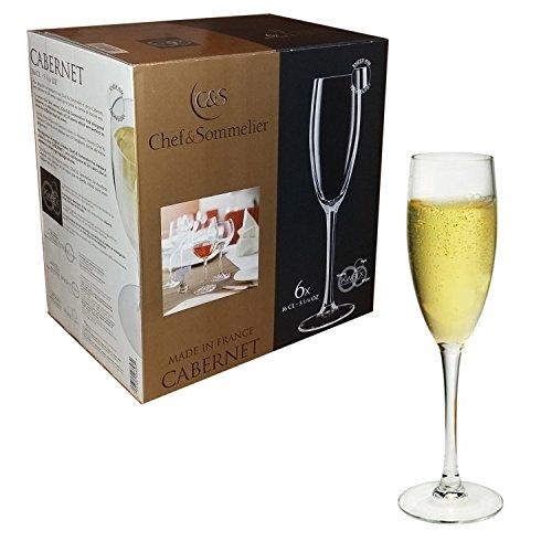 Chef e Sommelier - Ligne Cabernet - Lot de 6 flûtes 16 cl pour Prosecco et champagne