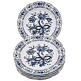Kahla 170273A72067U Zwiebelmuster blauweiß XXL Tellerset für 6 Personen Porzellan 6-teilig Speiseteller Blumendekor flach Teller rund Essteller