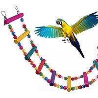 ZhongYeYuanDianZiKeJi Juguete de Pajaros Ave Escalera Columpio de Pájaros Madera Natural de Juguete para periquitos, Ninfas, Loros