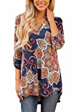 FIYOTE Womens Casual Floral Print V Neck Loose Cuffed 3 4 Sleeve Blouses Tops Medium Brown