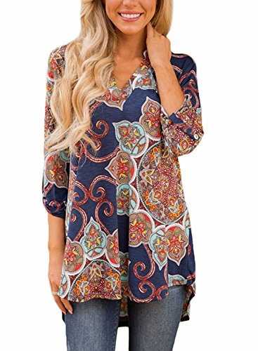 FIYOTE Womens Casual Floral Print V Neck Loose Cuffed 3 4 Sleeve Blouses Tops