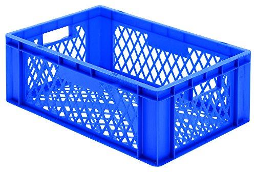 Gastronomie-Euro-Stapelkasten, blau, 60x40x21 cm, Wände u. Boden offen, mit Grifföffnungen,...