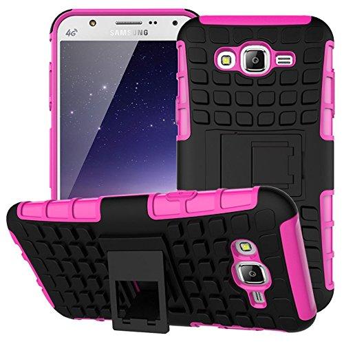 Preisvergleich Produktbild Nnopbeclik Samsung Galaxy J5 (2015) Hülle,  Dual Layer Rugged Armor stoßfest Handy Schutzhülle Silikon Tasche für Samsung Galaxy J5 (2015) - Rose Red + 1x Display Schutzfolie Folie