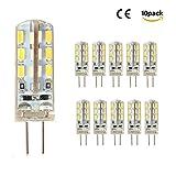 10er Pack G4 LED Lampen aus Silikon 2W Ersetzt 20W DC 12V Warmweiß (3000 Kelvin) 110 Lumen 360° Abstrahlwinke LED Leuchtmittel [Energieklasse A+]