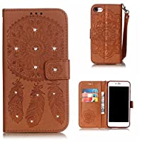 iPhone 7 Plus Case, KKEIKO® iPhone 7 Plus Wallet Case, Flip Leather Case and Cover with Bling Rhinestone, Book Style Bumper Cover Case for Apple iPhone 7 Plus with Free Tempered Glass Screen Protector (Brown)