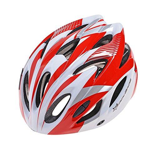ROCKBROS Fahrradhelm Radhelm Rennradhelm MTB Fahrrad Mountain Bike Helm (Rot)