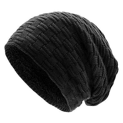 UPhitnis Long Beanie Mütze für Herren Damen - Unisex Warme Slouch Wintermütze in Feinstrick mit Fleece Innenfutter (Herren Fleece Gefüttert Stricken Hut)