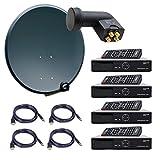 PremiumX Komplett 4 Teilnehmer Digital Sat Anlage Schüssel 80cm Antenne Spiegel mit Quad LNB 0,1dB + 4X HDTV Digital Receiver inkl. HDMI-Kabel