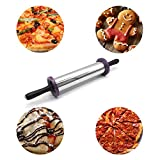Demana Edelstahl Nudelholz mit Dicke Ringe,Große Heavy Duty Einstellbare Roller für Cookie Gebäck Pizza