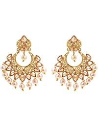 Zephyrr Jewellery Traditional Party Wear Earring Set Kundan Work With Pearl