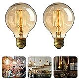 MTURE Ampoule Edison, E27 Lampe Décorative Ampoules à Incandescence Filament Rétro Edison Ampoule Antique Lampe Globe G80 Blanc Chaud 220V - 2 Pack