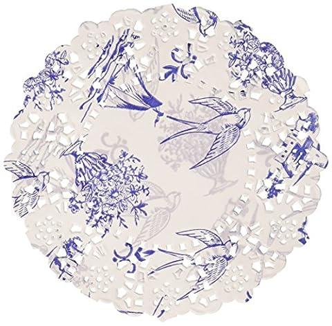 Talking Tables Party Porcelain Mini Paper Doilies, Blue