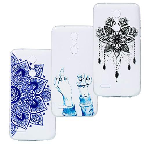 Everainy (3 Pack) Kompatibel für LG K10 2018/LG K11 Hülle Silikon Durchsichtig Gummi Transparent Stoßstange Cover LG K10 2018 Hüllen Ultradünn Stoßfest Handyhülle (Finger/Mandala/Traumfänger) Lg Gummi