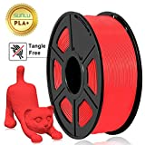 SUNLU 3D Printer Filament PLA Plus, PLA Plus Filament 1.75 mm,Low Odor Dimensional Accuracy 0.02 mm, 3D Printing Filament,2.2 LBS (1 Kilogram) Spool for 3D Printers and 3D Pens (Red)