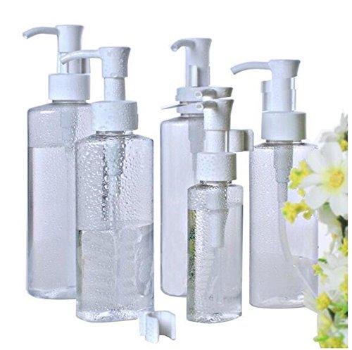 3PCS clair PET vide contenants en plastique de bouteille de voyage avec le distributeur blanc de pompe de lotion pour le shampooing Conditioner Lotion Articles de toilette (3.5 OZ/100 ML)
