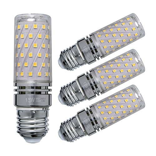 Sagel E27 LED Mais Birne, 15W LED Kerzenleuchter Glühbirnen 120 Watt Äquivalent, 1500lm, Warm Weiß 3000K LED Kronleuchter Lampen, Sockel E27, Nicht Dimmbare LED Lampe, 4er Pack (4p Uv-lampe)