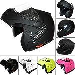 Leopard LEO-838 DOUBLE Sun Visor Flip up front Helmet (Matt Black M) Crash Motorbike Helmet DVS Motorcycle Helmet