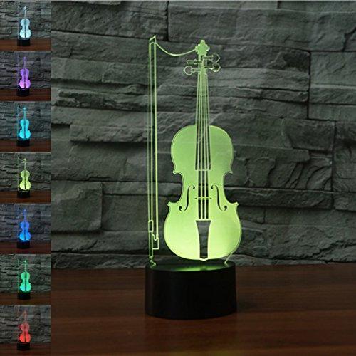 Violín 3d Illusion óptico lámpara luz nocturna, rquite 7cambia de color Touch...