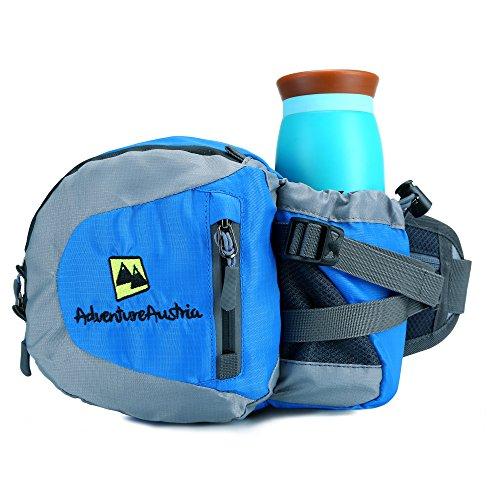 AdventureAustria Bauchtasche mit Flaschenhalter Wasserfest Gürteltasche mit Getränkehalter - für Radfahren Joggen Wandern. Ideal für Handy Schlüssel & Wertsachen. Justierbar & reflektierend. (Blau)