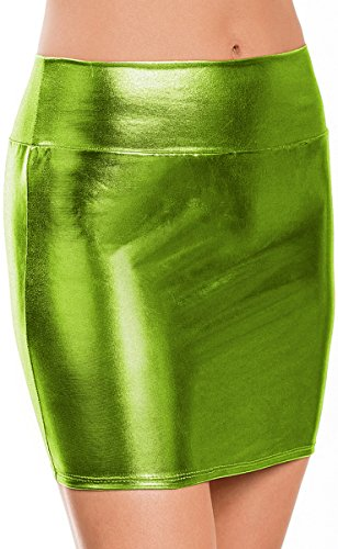 Price comparison product image Women Wet Look Micro Mini Skirt Metallic Sexy Bodycon Stretch Night Clubwear Party Costume Ladies Shiny Bandage Lingerie Short Pencil Dress Apple Green