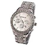Damen Armbanduhr Traumzimmer Geneva Women Fashion Luxury Crystal Quartz Watch Quarz Analog Digital Klassisch Flach Wasserdicht Quarzuhr Clock Casual Uhren Cluse Armband (Silber)