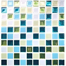 Tic Tac Tiles 5-Sheet Peel and Stick 3D Tile Sticker Self Adhesive Stick On Wall Tile for Kitchen Backsplash and Bathroom in Glassy Peacock