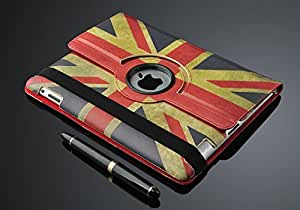 Apple Retro Vintage Union Jack PU Leather Wallet Flip Case Cover for The New iPad 2, 3,4 360 Degree Rotation Full Sleep Wake Function