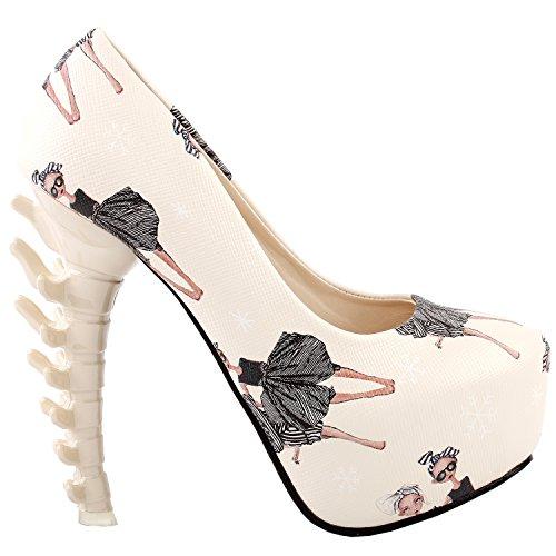 Voir L'histoire Ladies Skull Rose Plate-forme D'impression Os Party Club Talon, Lf80610 Ballet Girl Beige