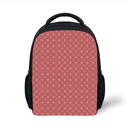 Kids School Backpack Pink,Rectangular Triangle Diamond Shaped Image Retro Polka Dots Print,Dark Coral Black White Plain Bookbag Travel Daypack -