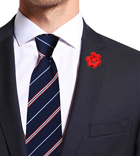 Remo sartori - cravatta in pura seta blu regimental a righe bianche e rosse, made in italy, uomo