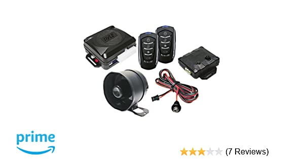 PWD701 2 Transmitters w// 4 Button Remote Door Lock Vehicle Ignition Locks Status Indicator LED w// Sensor Bypass Valet Override Switch /& 2 Auxiliary Outputs Pyle Car Alarm Security System