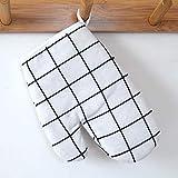 yurunn Guantes Resistentes al Calor de Alta Temperatura Guantes de Cocina aislantes engrosados   Cuadros Blancos